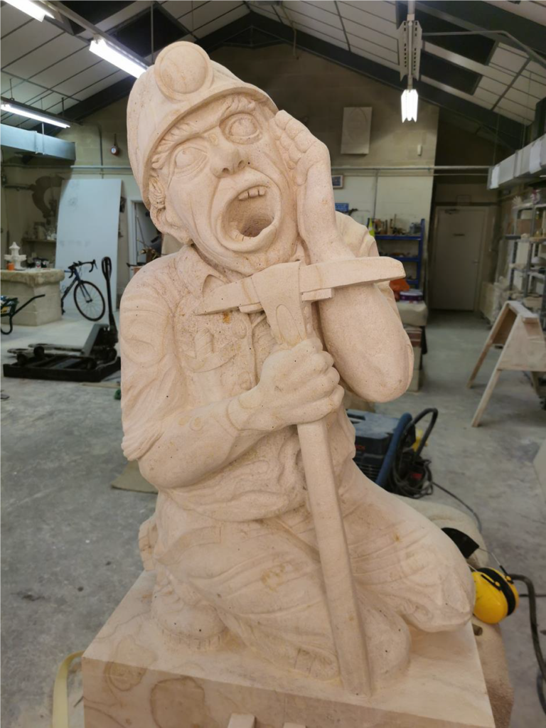 The completed carving at ground level !